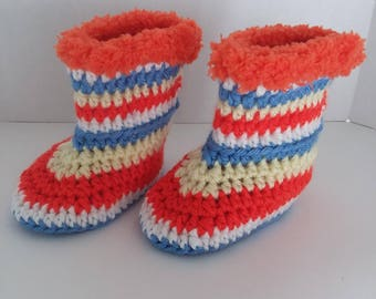 Striped Baby Boots with Fur Size 3-12 Months