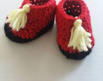 Red Moccasins with Yellow Tassels Size 3-6 Months