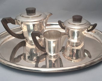 d8f4758f981fb French Tea Service Art Deco With Tray and Wooden Handles