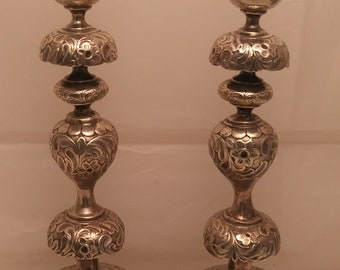 A Tall Pair of Russian Silver Shabbos Candle Holders