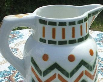 Longwy faience - Art Deco 1930s pattern pitcher