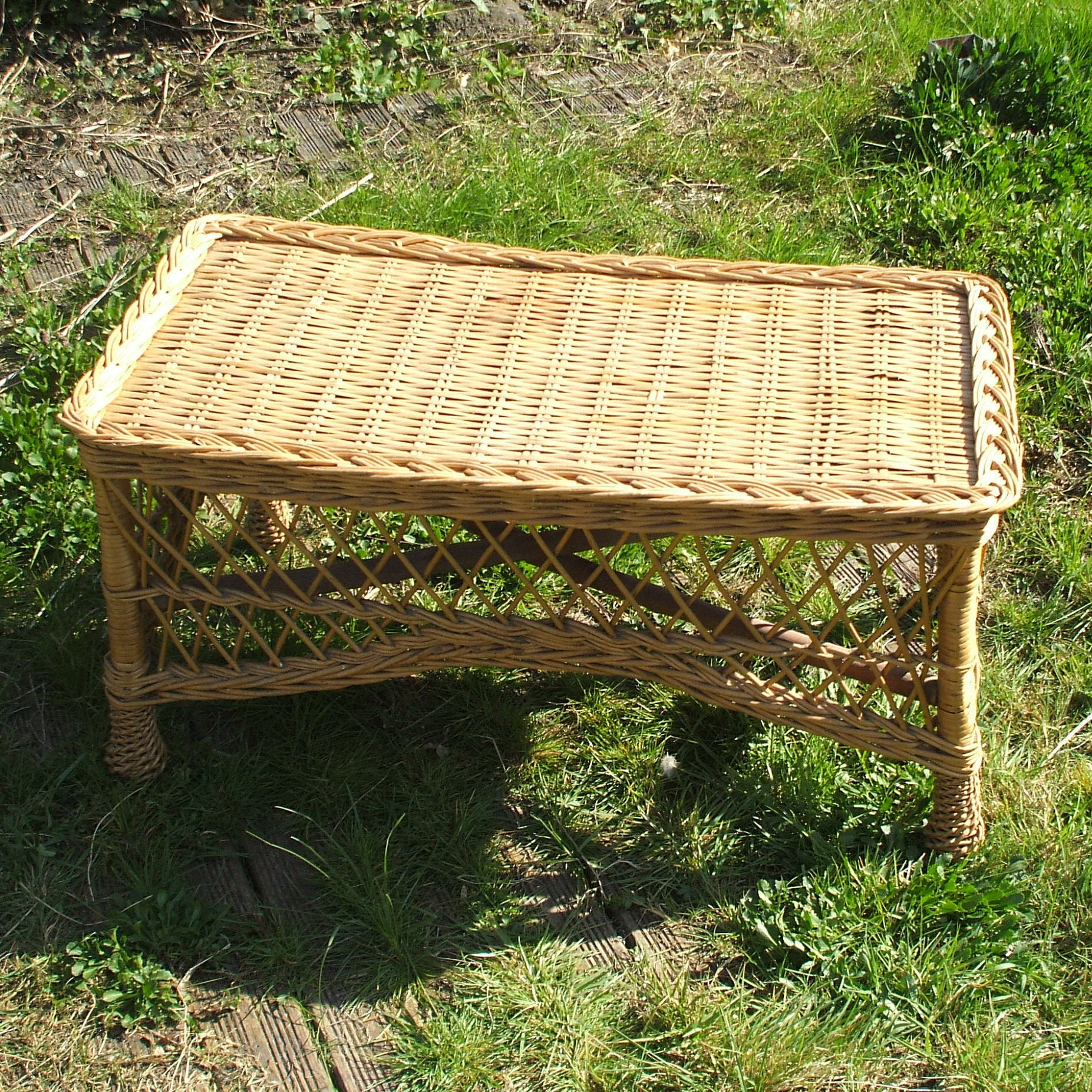 Rattan Coffee Table Etsy: Rattan And Wicker Coffee Table