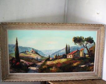 "Oil on canvas signed Mediterranean landscape ""Dumont P."""