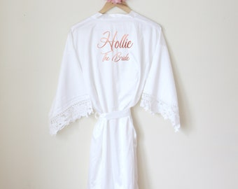Personalised Lace Bridal Party Wedding Satin Silk Robe Rose Gold Glitter  Name Dressing Gown Kimonos Bridesmaid Gifts bc61c41c4