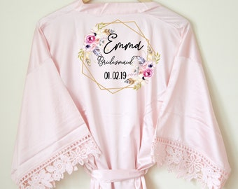 17aaeccffd Personalised Lace Bridal Party Wedding Satin Silk Robe Dressing Gown  Kimonos Bridesmaid Gifts