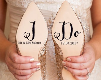 Personalised Wedding Shoe Vinyl Sticker Decal With Name & Date Decorations Bridal shoe Bridesmaid I Do Etc