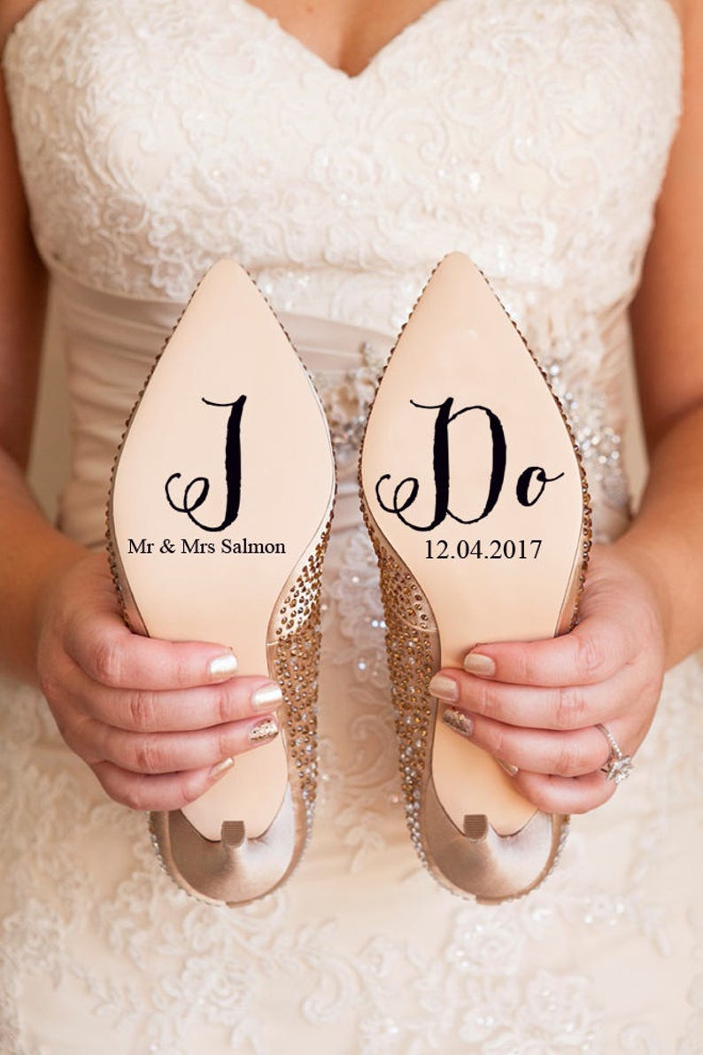 Personalised Wedding Shoe Vinyl Sticker Decal With Name & Date image 0