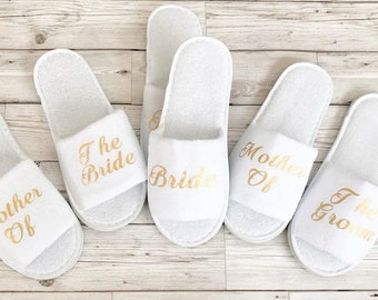 Personalised Bridal Slippers Bride, bridesmaid, Maid of Honour, Mother of the Bride groom Hen Do Party Slippers Mrs To Be Gift Rose Gold
