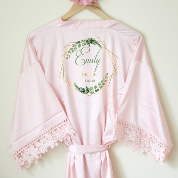 04908c25b7 Personalised Lace Bridal Party Wedding Satin Silk Robes