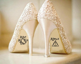 Personalised Harry Potter Disney Wedding Shoe Vinyl Sticker Decal With Name & Date Decorations Bridal shoe Bridesmaid I Do Deathly Hallows