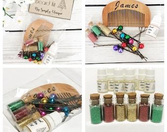 Men's Personalised Beard Bells, Glitter & Comb set kit Baubles Christmas Stocking Filler Gift Secret Santa Gift Boyfriend, Dad, Grandad Etc