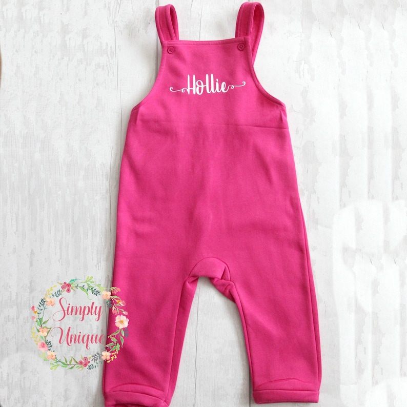 Navy Pink Personalised Children/'s Dungaree/'s Baby Toddler Kids Grey Name Boys Girls Gift Birthday Outfit Monogram Initials unisex cotton