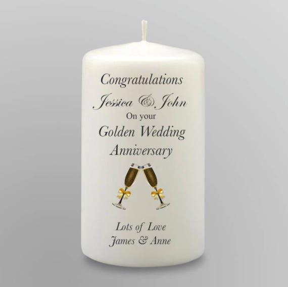 Personalisierte 50 Goldene Hochzeit Jahrestag Kerze Geschenk Andenken Hochzeit Herzstück Dekoration