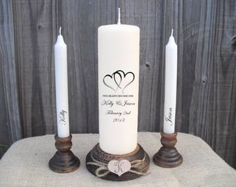 Personalised Two Hearts Become One Love Unity Candle Set Wedding Engagement Centrepiece Gift Keepsake Anniversary Valentines Day