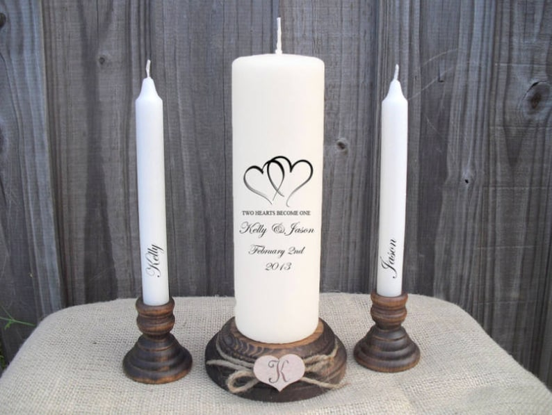 Personalised Two Hearts Become One Love Unity Candle Set image 0