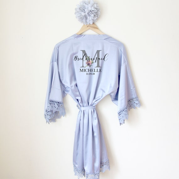 Personalised Lace Bridal Party Wedding Satin Silk Robe  d7a9394bc