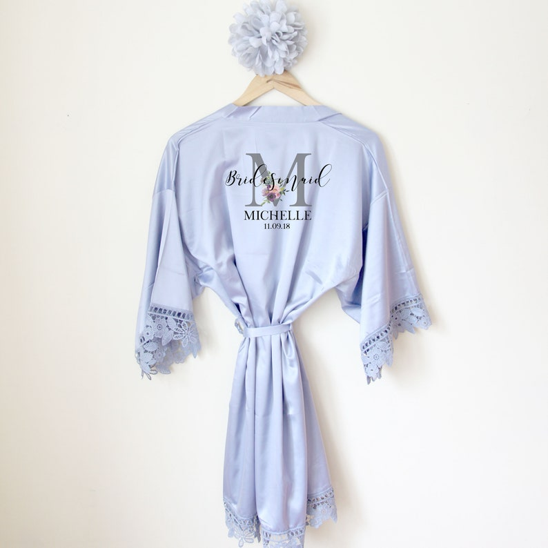 0fd0f7ab37 Personalised Lace Bridal Party Wedding Satin Silk Robe