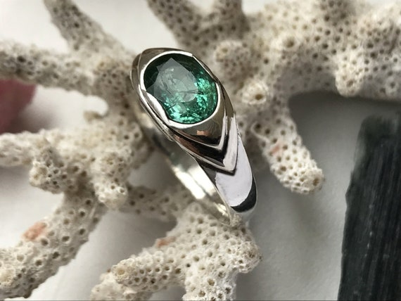 Certified Natural Emerald Ring size 7  Round Calibrated 5mm  Emerald set in a Fancy Sterling Silver Ring Setting Lab Tested .55cts