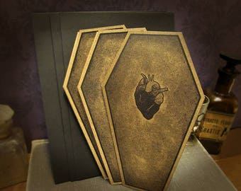 The Lover's Coffin Cards - Coffin - Valentine's Day Card - heart - love - card - goth