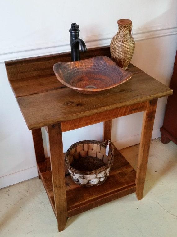 Vasque En Cuivre grange rustique bois vanité avec lavabo vasque en cuivre | etsy