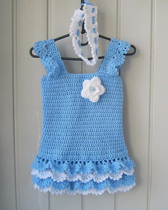 Kinder Kleid Gehakelt Hakeln Baby Kleid Blaues Kleid Mit Etsy