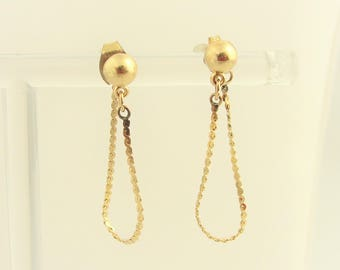 Vintage Chained Jacket Stud Earrings- 14k Yellow Gold