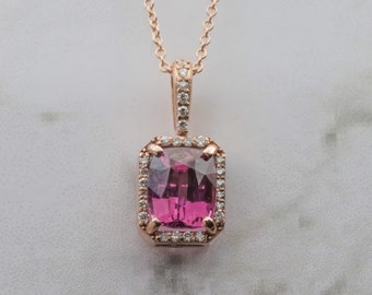 Pink Spinel Diamond Halo Necklace in 14k Rose Gold