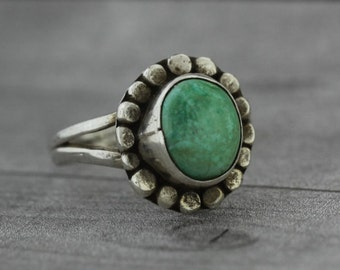 Turquoise Flower Ring - Sterling Silver - Blue Stone Jewelry