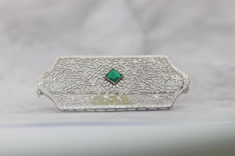 Antique Art Deco Tourmaline Brooch Pin-14k White Gold