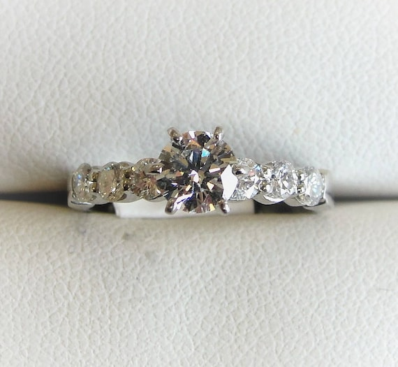 Diamond Engagement Ring In Platinum 0 87 Ct T W Gia