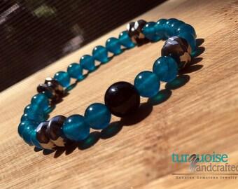 Blue Apatite Bracelet, Healing Crystal Bracelet, Reiki Bracelet, Weight Loss, Throat Chakra, Beaded Bracelet, Reiki Healing, Yogi Gift