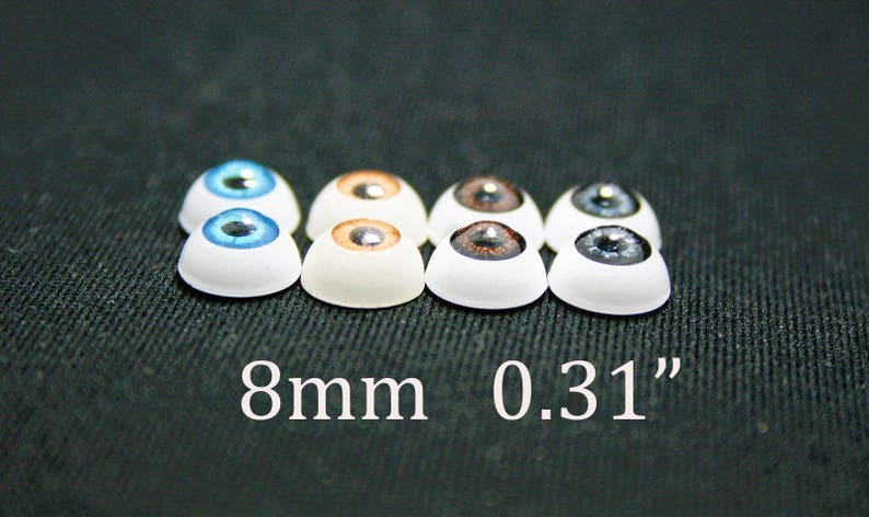 """gray and brown bjd dollfie reborn Doll acrylic eyes 8 mm 5//16/"""" 3 pairs blue"""