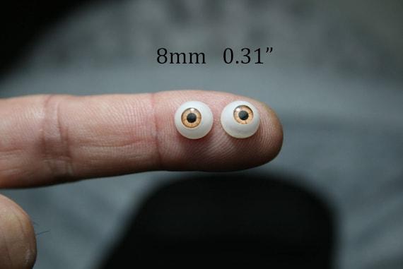 "Doll acrylic eyes 8 mm 5//16/"" 4 pairs brown bjd dollfie reborn"