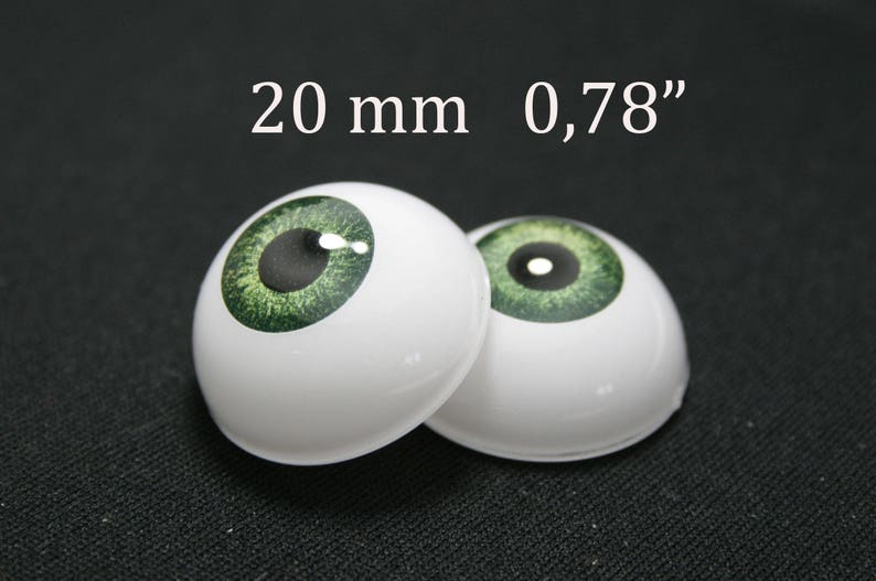 Doll acrylic real eyes for reborn doll kits 20mm F//R green one pair.