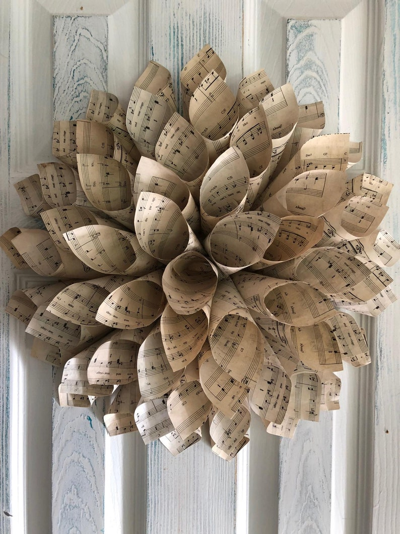 Wedding Centerpiece First Song Preservation Wedding Song Wreath Love and Marriage Vintage Inspired Sheet Music Dahlia Tea Stained Paper
