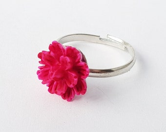 Pink flower ring etsy hot pink flower ring mightylinksfo