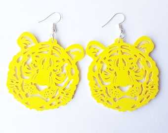 Yellow Tiger Earrings