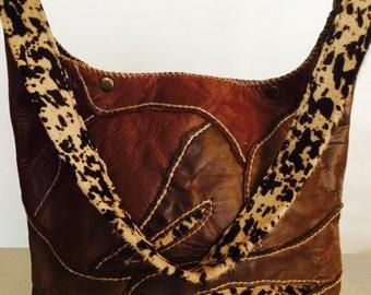 leather shoulder bag Artisan hand stitched