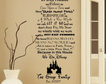 In This House We Do Disney Wall Decal With Mickey Mouse Etsy