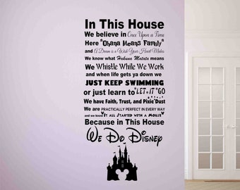 In this House We do Disney Wall Decal-Disney Wall Signs-Disney Wall Quotes-Disney Quotes-Wall Vinyl Decal-Wall Decor-Wall Art-Wall Words  sc 1 st  Etsy & In this House We Do Disney Wall Decal-Disney Quotes-Wall