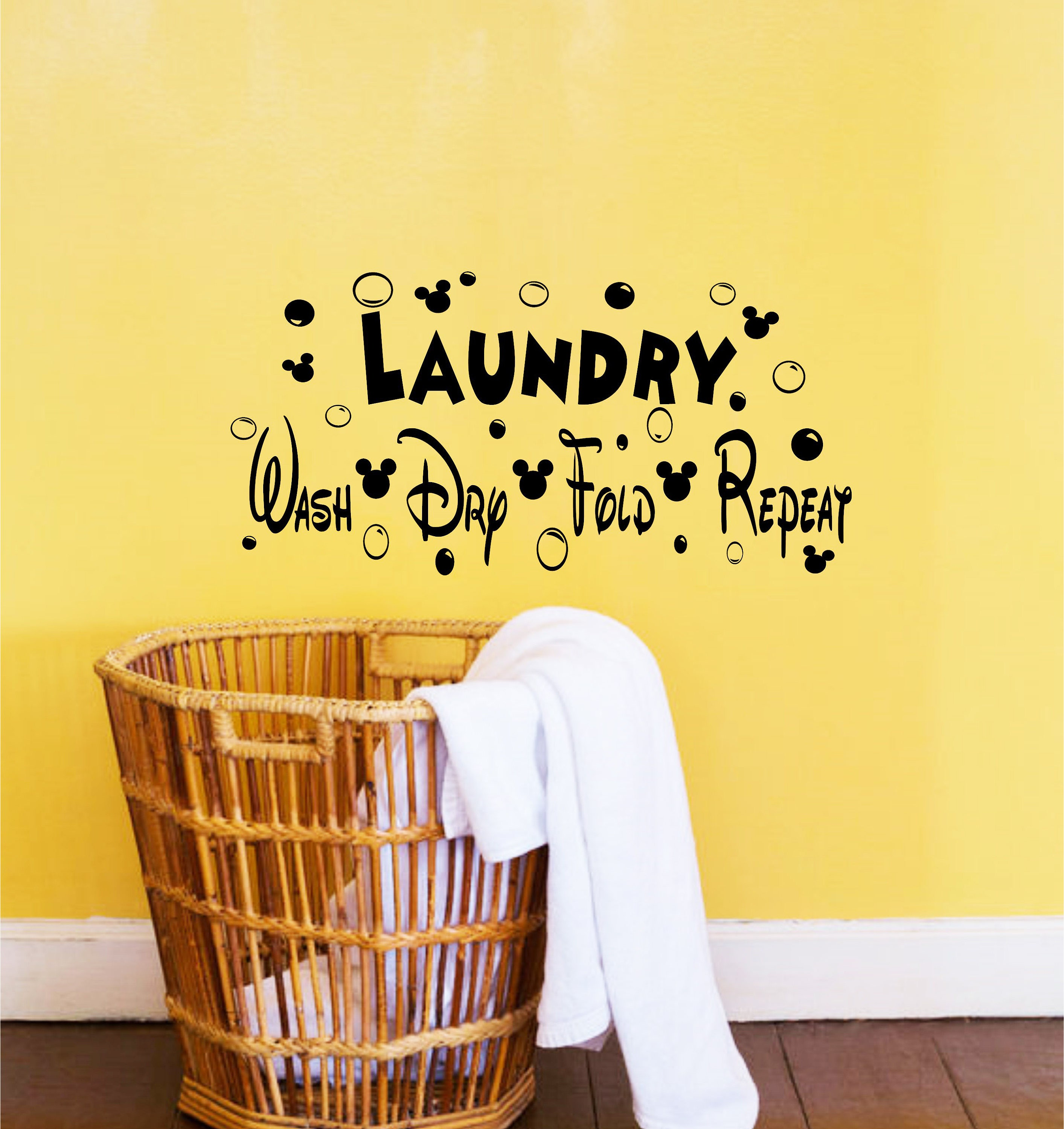 Disney Decor-Disney Decals-Laundry Room Decor-Wash Dry Fold