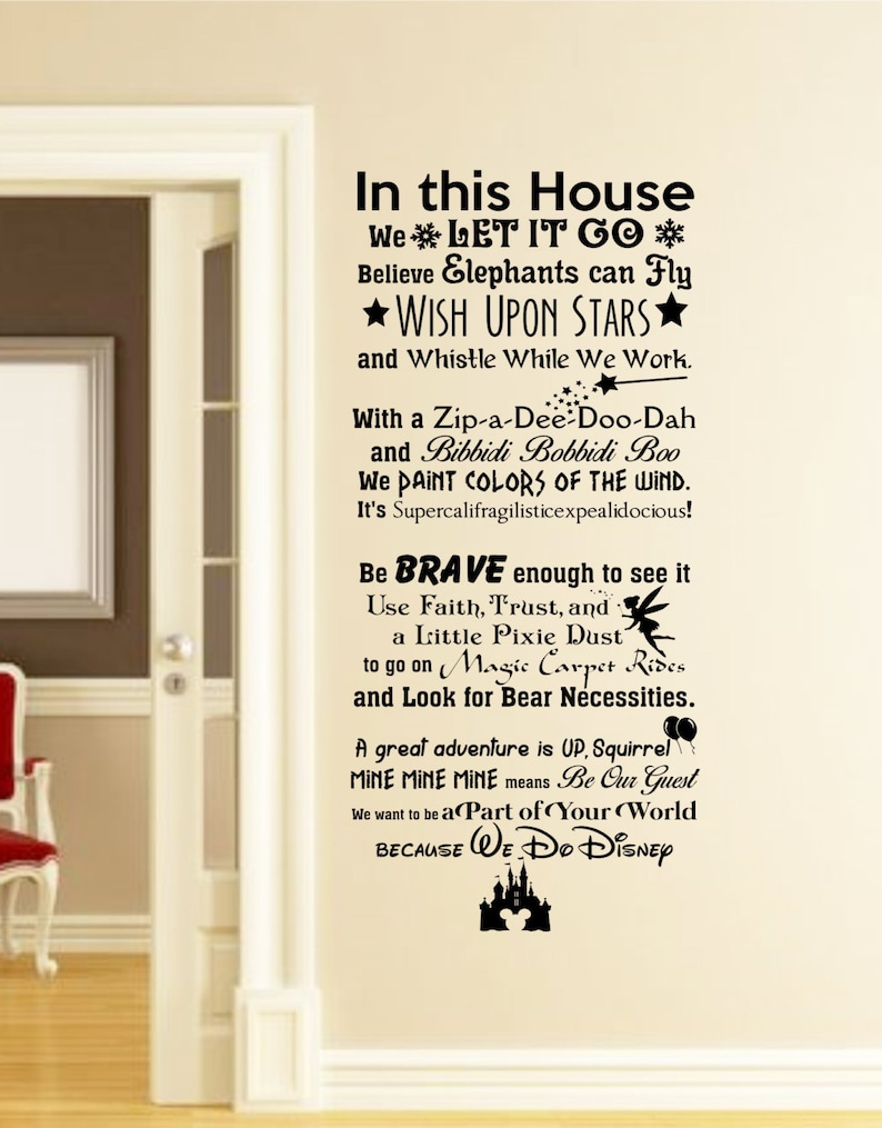 In This House We Do Disney Wall Decal Disney Wall Quotes Wall Etsy