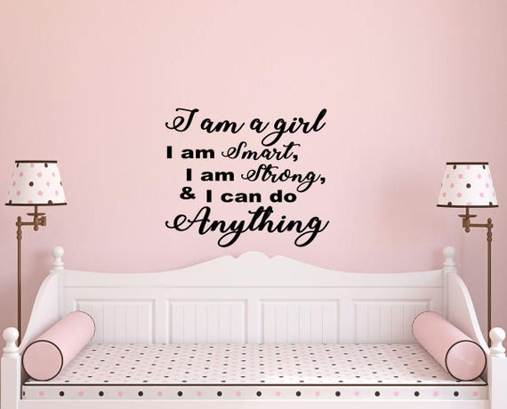 girls bedroom ideas-i am a girl wall decal-wall | etsy