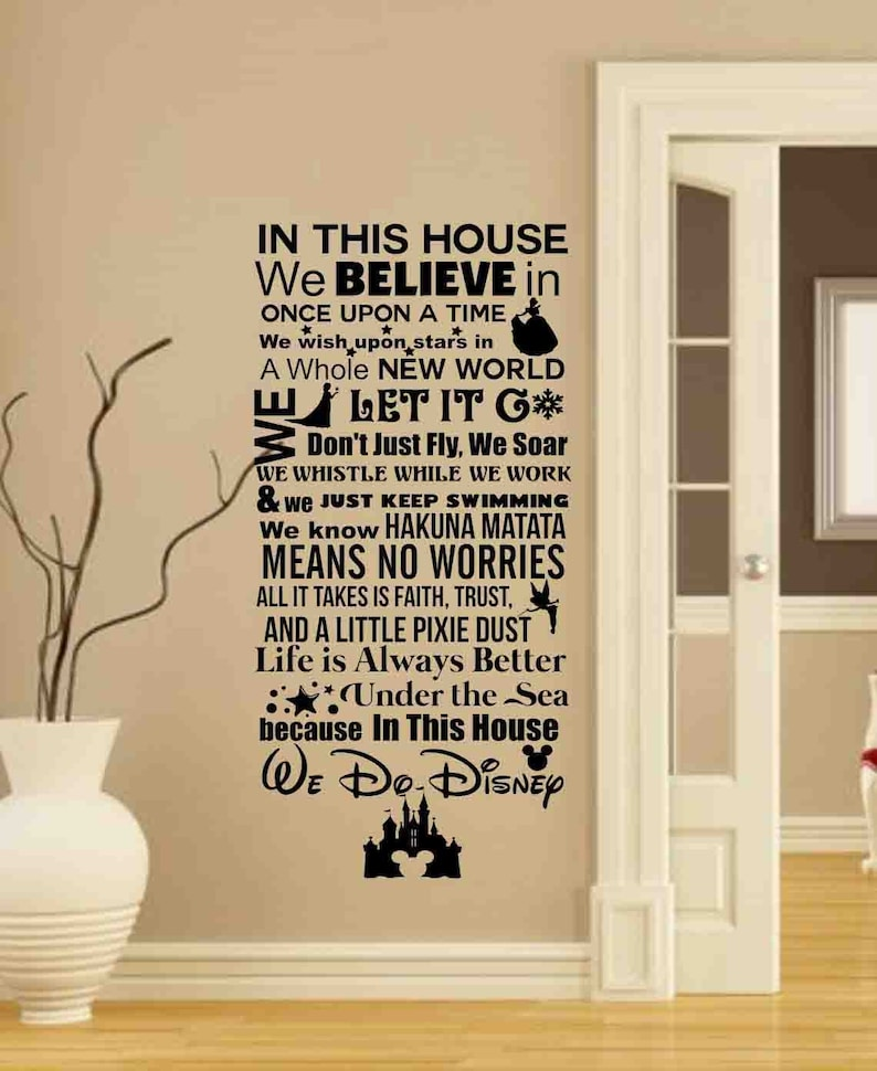 in this house we do disney-disney sign-disney wall decals | etsy
