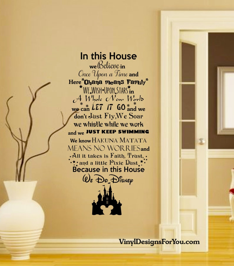 in this house we do disney wall decal with mickey mouse | etsy