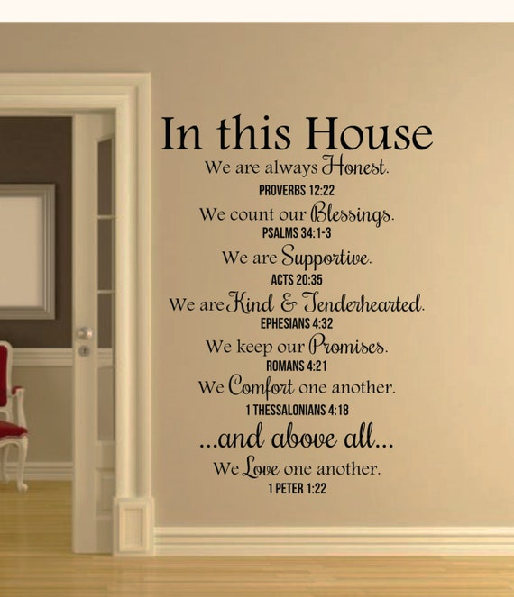 Blessings Home Decor: In This House Bible Verses Wall Decal Quote-Christian Wall