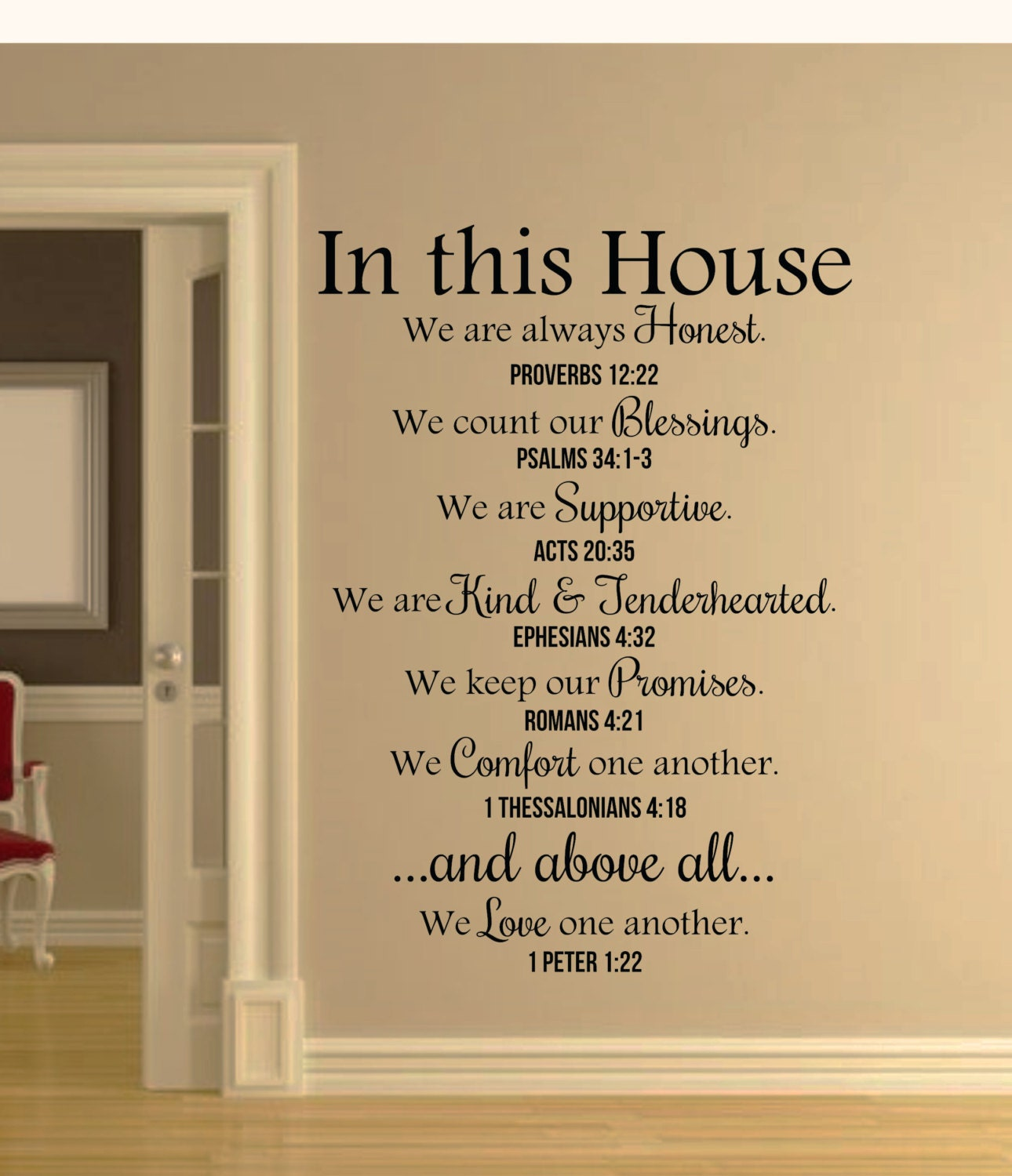 In this House Bible Verses Wall Decal Quote-Christian Wall | Etsy