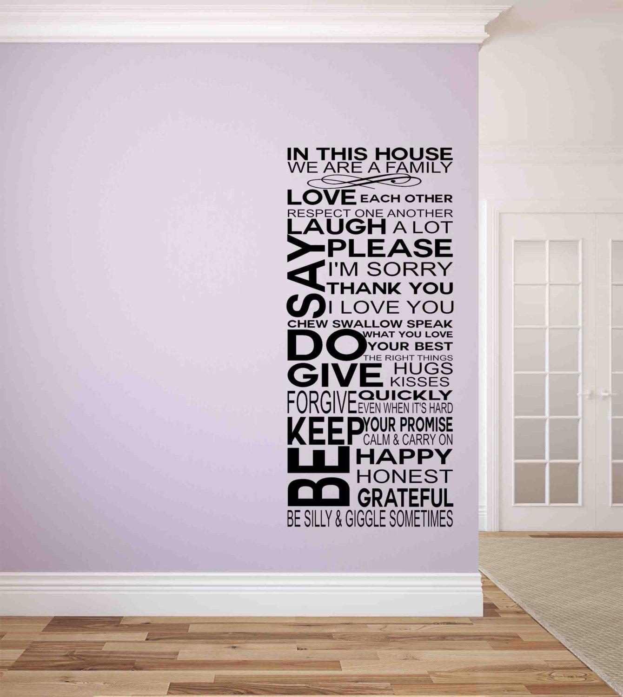 Familienregeln In dieses Haus-Wand Aufkleber-Wand Aufkleber | Etsy