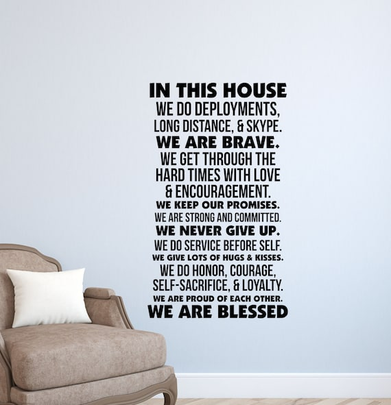 In This House Military Wall Decal Quotes Army Air Etsy