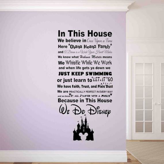 in this house we do disney wall decal-disney wall signs-disney | etsy